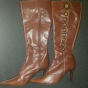 Retro Style Knee High Leather Boots